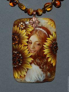 Купить Подсолнушка - комбинированный, лаковая миниатюра, живопись маслом, живопись на камне, авторская ручная работа
