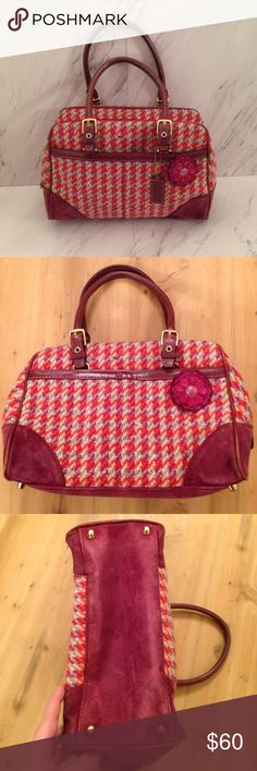 "Coach Houndstooth Tweed Bag Beautiful maroon, red and white bag is so great! Great condition. Rarely used. Please view photos and ask questions if you have them. 10.5"" L, 7"" H, 5.5"" W Coach Bags Satchels"