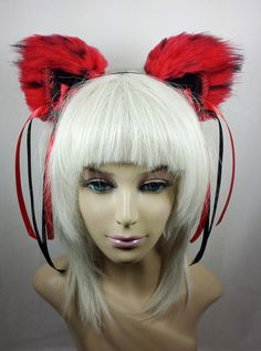 From Kitten Sightings on Etsy! The Chateau's Official Sponsor! ~ Red and Black Huge Fluffy Cat Ears