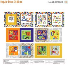 Fun with ABC's~ Book Panel x Fabric by Studio E This fabric is sold by the panel and cut to order. Fabric is Cotton Fabric fabric measures 36 x 44 inches Arts And Crafts Supplies, Decorative Pillow Covers, Accent Decor, Fabric Design, Cotton Fabric, Gallery Wall, Quilts, Studio, Handmade Gifts