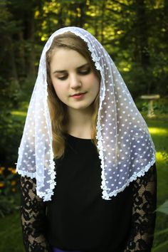 Evintage Veils~ CHILD SIZED Traditional Catholic Lovely Vintage Inspired Mantilla Chapel Veil ~ Point D'esprit and  White Roses ~