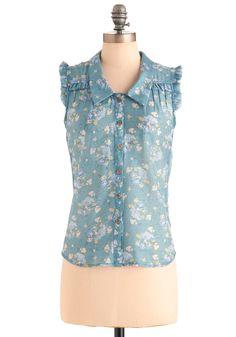 Good Morning, Garden Top - Mid-length, Blue, Floral, Buttons, Casual, Sleeveless, White, Ruffles, Spring