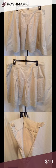 """Talbots Woman A-Line Skirt ~ 16W Talbots Woman A-Line Skirt ~ 16W. Super cute, heavier cotton/spandex a-line skirt with pleats and fun stitching detail. Side zipper. Length from waist to bottom is 24"""". Dry clean only. Talbots Skirts Mini"""