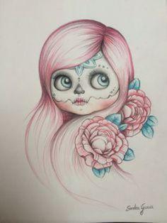 Bocetos para tatuajes de Catrinas y Calaveras Mexicanas. Diseños de Catrinas.
