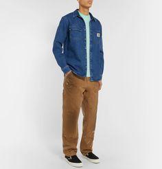 Carhartt Logo-appliquÉd Cotton-jersey T-shirt In Green Denim Button Up, Button Up Shirts, Logo Branding, Logos, Carhartt Wip, Vans Sneakers, Men's Style, Work Wear, Trousers