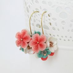 Ever lasting flowers - earrings, lace, romantic, elegant, unique, girlfriend, present, salmon