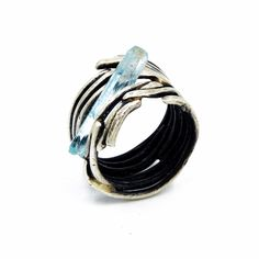 Sterling silver wire band ring, set with Vietnamese Tourmaline