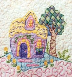 Periwinkle Lane - Block 10 Embroidery Pattern by Black Cat Creations - Jackie Theriot. BOM embroidery and crayon pattern of a home and tree. Advanced Embroidery, Embroidery Sampler, Machine Embroidery Patterns, Hand Embroidery Patterns, Vintage Embroidery, Quilt Patterns, Fabric Embellishment, Fabric Painting, Vintage Patterns