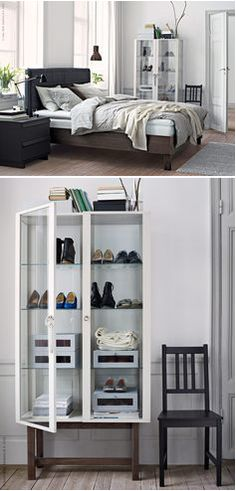 A glass-door cabinet is a great way to store and display your finest possessions and best loved objects. For some people, those just might be their shoes!