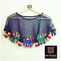 PICK OF THE SEASON # CAPES WITH KUTCHI WORK MOTIFF # JUST BLOUSES # DARE TO BE DIFFERENT ON THE GARBA NITE !!