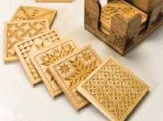 Carved coasters from quilt block patterns http://www.woodcarvingillustrated.com/patterns/quilt-patterns-inspire-chip-carved-coasters.html