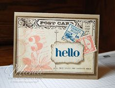 Postage Due, Four You and Postcard stamps, Crumb Cake, Baked Brown Sugar and Very Vanilla card stock, Crisp Cantaloupe, Baked Brown Sugar, Midnight Muse, Early Espresso and Crumb Cake ink, postage punch, decorative label punch