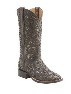 Lucchese-M4843-Womens-Espresso-Metallic-Studded-Leather-Western-Cowboy-Boots