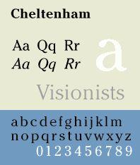 Font sample specimen: Cheltenham. Selection: www.rotterdam-vormgeving.nl