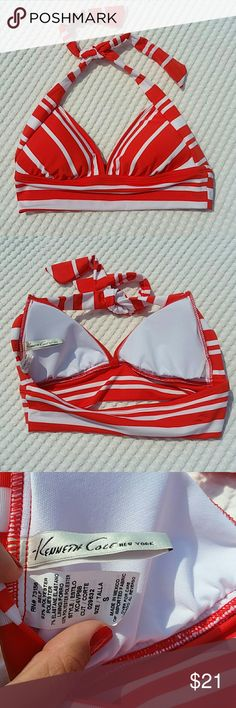 NWOT Kenneth Cole Reaction Orange Striped Top NWOT, never washed or worn, Kenneth Cole Reaction Orange and White Stripe Bikini Top. Size Small, this top ties at the neck but us *not* adjustable at the back. Flattering thick band runs around and under the cups. Removable padding. Kenneth Cole Reaction Swim Bikinis