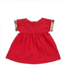 Burberry Check-Cuff Pique Dress, Pomegranate Pink