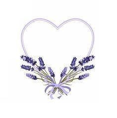 lavender heart Wreath Watercolor, Watercolor Flowers, Lavender Tattoo, Wreath Drawing, Lavender Flowers, Lavander, Borders And Frames, Flower Backgrounds, Flower Frame