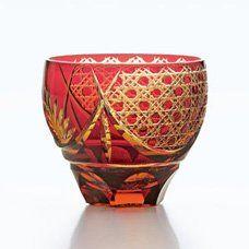 彩花切子タンブラー赤クリスタルガラスHG200-11R
