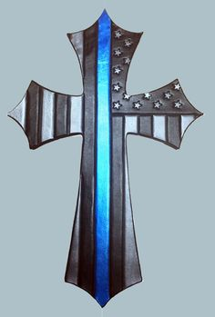 Thin Blue Line Leather cross with wood backing, home, office, wall hanging by sobleather on Etsy Wooden Crosses, Wall Crosses, Native American Art, American Flag, Rustic Outdoor Bar, Police Flag, Cross Pictures, Small Woodworking Projects, Wood Projects