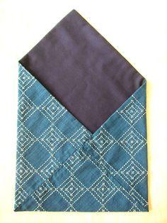 Indigo Sukiya bag with Kawari hishizashi Fabric Wallet, Textiles, Running Stitch, Boro, Cotton Thread, Fabric Crafts, Fiber Art, Needlework, Indigo