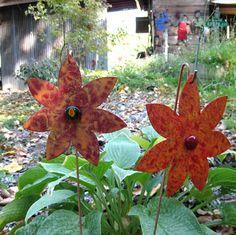 Garden Art Flowers - Handmade Recycled Metal Stakes--ETSY