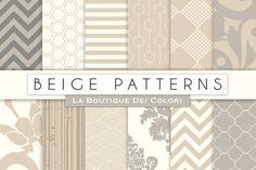 Beige Patterned Digital Papers by La Boutique dei Colori on @creativemarket