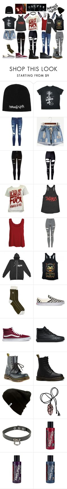 """week of MOTIONLESS IN WHITE!"" by hunterscloset ❤ liked on Polyvore featuring J Brand, River Island, WithChic, WearAll, Topshop, Alexander McQueen, Vans, Dr. Martens and Manic Panic NYC"