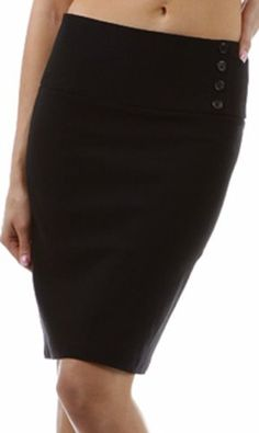 Above the Knee Stretch Pencil Skirt with Four Button Detail $21.99