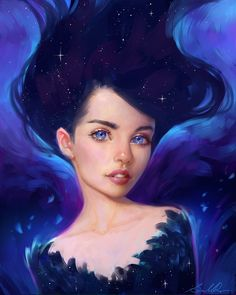 Galaxy by Selenada, Female Portrait, Cute Starry Face, Digital Painting, Fantasy, Illustration, Inspirational Art