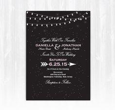 Stars and String Lights Wedding Invitation by TreasuredMomentsCard