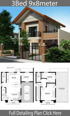 Home design plan with 3 bedrooms - Home Ideas - Home design plan with 3 bedrooms – Home Design with Plansearch - Two Story House Design, 2 Storey House Design, Simple House Design, Bungalow House Design, Modern House Design, Modern Houses, House Layout Plans, House Layouts, Philippines House Design
