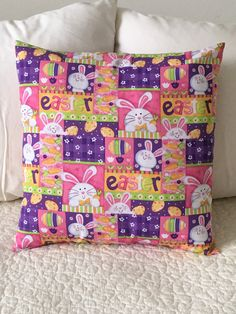 Happy Easter - Pillow Cover - Bunny - Swappillow Covers - Gift - Envelope Closure - Decorative Pillow Cover - 16x16 - Spring by KathyRyanDesigns on Etsy