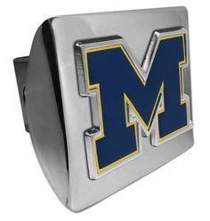"University of Michigan Navy """"M"""" Shiny Chrome Hitch Cover"