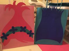 Trolls. DIY. Poppy and Branch candy bags I created for Niece's birthday party