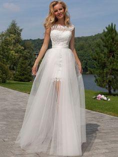 7232829dd9 Sheath Column Sleeveless Lace Scoop Floor-Length Tulle Wedding Dresses  Applique Wedding Dress