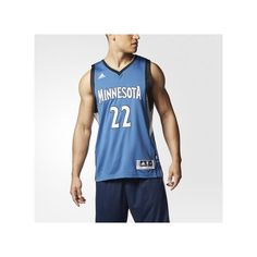 adidas Timberwolves Andrew Wiggins Swingman Jersey Black ($110) ❤ liked on Polyvore featuring men's fashion
