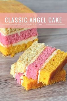 The classic layer sponge loaf. Pink, yellow and plain, sandwiched to… Angel Cake. The classic layer sponge loaf. Pink, yellow and plain, sandwiched together with buttercream. Big Cakes, Food Cakes, Cupcakes, Cupcake Cakes, Baking Recipes, Dessert Recipes, Baking Desserts, Plain Cake, Sponge Cake Recipes