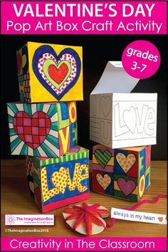 Valentine's Day Gift Box and card making activity for kids. This is an easy, fun Valentine's Day art and craft activity for kids -  ideal for parents and for teachers to use in the classroom to make Valentine's Day cards and Valentine's Day gifts. These easy to use printable templates and colouring sheets are inspired by Pop Art, ideal for grades 3-7. Click on the link to read more and see the full preview of this pdf resource.