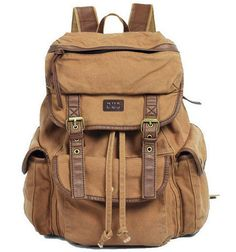 "* This vintage looking solid canvas knapsack backpack is perfect for your 17"" laptop. * Main Material: Canvas* Closure Type: Zipper..."