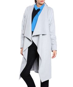 Light grey wool blend blanket coat by Vera Ravenna on secretsales.com
