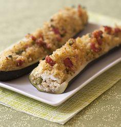 Courgettes farcies au boulghour, chèvre frais et lardons fumés - Ôdélices : Recettes de cuisine faciles et originales !
