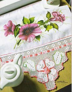 Bico de croche de flores - Pintura em tecido