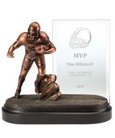 Show details for Football Glass Plaque Football Awards, Football Players, Football Trophies, Glass Plaques, Bronze Finish, Statue, Soccer Players, Sculptures, Sculpture