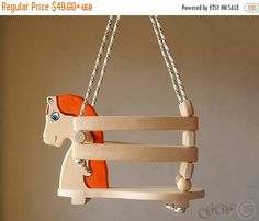 ITEM DETAILS  Type: Wooden handmade horse swings. Seat size approx: 25x23cm (9.84x9.05inch) Height approx: 27cm (10.62inch) Color: natural wood and