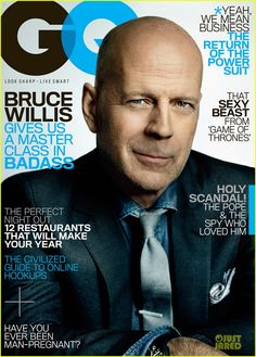 Bruce Willis covers the March 2013 issue of GQ Magazine, where he talks about his strange-but good body of work in Hollywood, his future, and also shares some insights on life. Bruce Willis, Emma Willis, Mario Testino, Celebrity Gossip, Celebrity News, Bald Actors, Max Payne, Gq Magazine, Magazine Covers