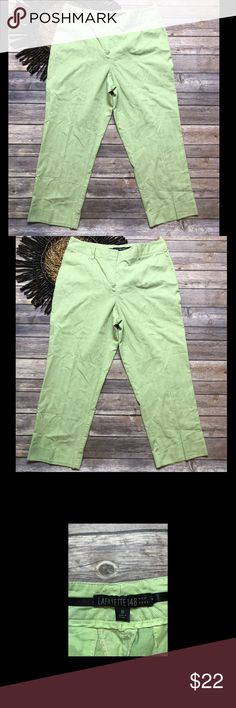 "Lafayette 148 Green Cotton Career Cropped Pants • Gently used; no flaws • Cotton/Spandex • Machine washable • Waist: 30"" • Inseam: 22"" • Rise: 10"" • Size 10 Lafayette 148 New York Pants Ankle & Cropped"