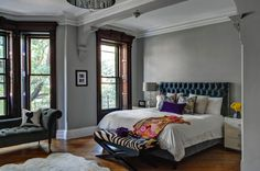 Master Bedroom Dramatic Dark Gray Headboard And Walls With White Comforter Modern Victorian