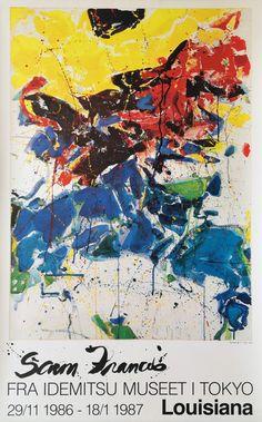 """Original plakat fra udstillingen """"Sam Francis. Fra Idemitsu Museet i Tokyo"""" på Louisiana Museum of Modern Art 1986-1987. Sam Francis, Louisiana Museum, Museum Poster, Pierre Bonnard, Samar, Illustrator, Tokyo, Abstract Art, Portrait"""
