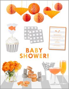 gray, orange, and white baby shower