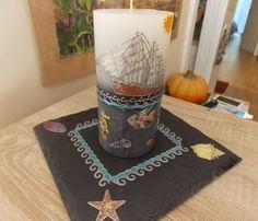 Diese Kerze haben wir zwar nur gekauft, aber die Dekoration haben wir selbst gemacht. Mit tollen Konturensticker kann man ganz einfach basteln. Der Sommer kann kommen! Good Times, Gift Cards, Candles, Summer, Simple, Decorations